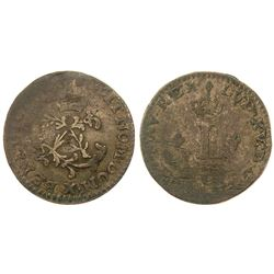 1740-X [Amiens Mint] Billon Half Sous Marques.  Vlack 318.  Rarity-7.