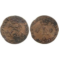 1740-AA [Metz Mint] Billon Half Sous Marques.  Vlack 324.  Rarity-1.
