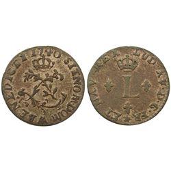 1740-AA [Metz Mint] Billon Half Sous Marques.  Vlack 324.