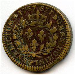 1767-A French Colonies Copper Sou.  Vlack 1-A.