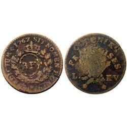 1767-A French Colonies Copper Sou.  Vlack 5-E (E), with the RF countermark.