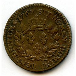 1767-A French Colonies Copper Sou.  Vlack 6-F, without the RF countermark.