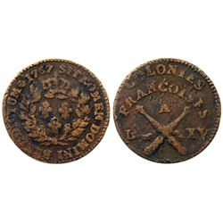 1767-A French Colonies Copper Sou.  Vlack 10-J, without the RF countermark.