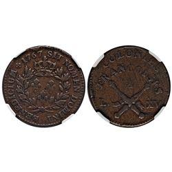 1767-A French Colonies Copper Sou.  Vlack 13-M.