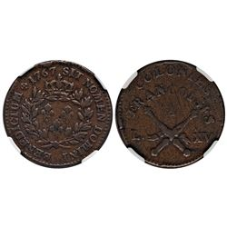 1767-A French Colonies Copper Sou.  Vlack 13-M.