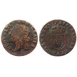 """RF"" Countermark of the type found on the 1767-A French Colonies Copper Sous – but here on a 1785-A"