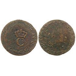 1765 French Colonies Stampee, Overstruck on a 1749 Sous Marques.  Vlack 374.  Rarity-6.
