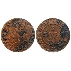 1780-A [Paris Mint, as are all of this type] Cayenne Two Sous.  Vlack 381.  Rarity-6.