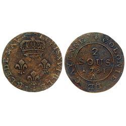1781-A Cayenne Two Sous.  Vlack 382.  Rarity-6.