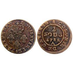 1782-A Cayenne Two Sous.  Vlack 383.