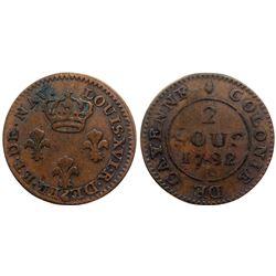 1782-A Cayenne Two Sous.  Vlack 384.  Rarity-7.