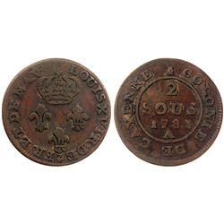 1783-A Cayenne Two Sous.  Vlack 386.  Rarity-7.