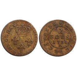 1786-A Cayenne Two Sous.  Vlack 389.  Rarity-7.