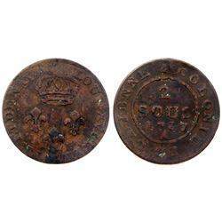 1787-A Cayenne Two Sous.  Vlack 390.  Rarity-7.
