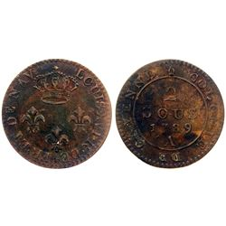 """1789-A Cayenne Two Sous.  Vlack 392, with number """"1"""" in date.  Rarity-1."""