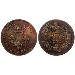 1789-A Cayenne Two Sous.  Vlack 393.  Rarity-1.