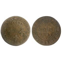 1781-A (Paris Mint) Isles de France et de Bourbon Three Sous.  Vlack 399, overstruck on an earlier S