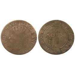 1781-A (Paris Mint) Isles de France et de Bourbon Three Sous.  Vlack 399, not overstruck on an earli
