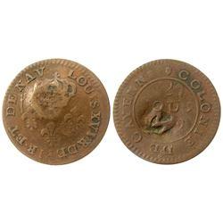 (1795-1811) Montserrat countermark.  Vlack 405.  Rarity-5.
