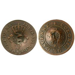 (1795-1811) Montserrat countermark.  Vlack 405 type, but UNLISTED over a 1782 Cayenne Two Sous.  Rar