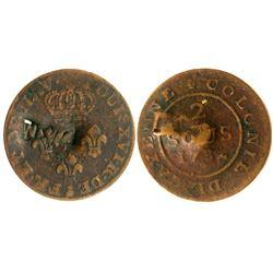 (1801) Nevis Countermark. Vlack 407.  Rarity-7.