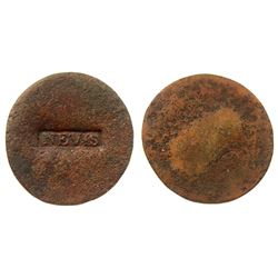 (1801) Nevis Countermark.  Vlack 407 type, but UNLISTED on a blank copper planchet.  Rarity-8 as suc