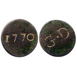 1770 Countermark on a blank copper planchet, said to be for Guadeloupe and other areas.