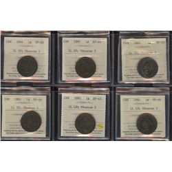 1891 One Cent - Set of All 6 Varieties