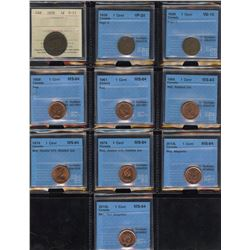 Graded Lot of 10 One Cents