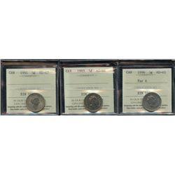 ICCS Graded - Lot of 3 ICCS Graded Five Cents