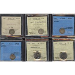 Graded Lot of 6 Five Cents