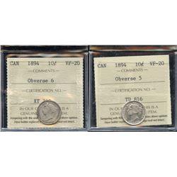 1894 Ten Cents - ICCS Graded Lot of 2