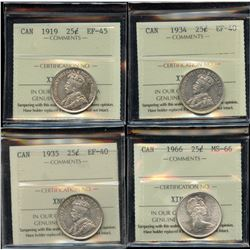 ICCS Graded - Lot of 4 ICCS Graded Twenty Five Cents