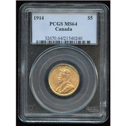 1914 Bank of Canada $5 Gold