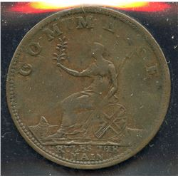 Br 983, CH-AM-3. 1812 Commerce Rules the Main Half Penny.