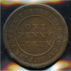 Br 962, CH-NS-20A4. 1813 One Penny, Trade & Navigation.
