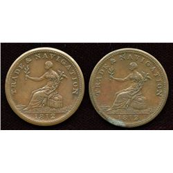 Lot of Two 1812 Trade & Navigation Half Penny Tokens.