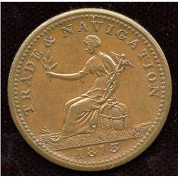 Br 963, CH-NS-19A1. 1813 Trade & Navigation Half Penny Token.