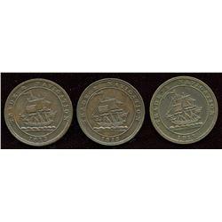 Lot of Three 1813 Trade & Navigation Half Penny Tokens.
