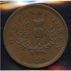 Br 873, CH-NS-2C1. 1840 Nova Scotia One Penny.