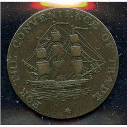 Br 880, CH-NS-8A1. 1814 Half Penny, Convenience of Trade.