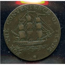 Br 880, CH-NS-8A1. 1814 Half Penny, Convenience of Trade.