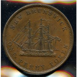 Br 909, CH-NB-2A. 1843 New Brunswick One Penny.