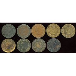 Lot of Nine Tiffin Half Penny Tokens.