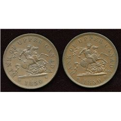 Br 719, CH-PC-6A1, 1850 One Penny - Lot of 2