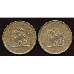 Br 719, CH PC-6A1, 1850 One Penny - Lot of 2
