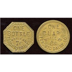 Lot of Two Toronto Milk Tokens.