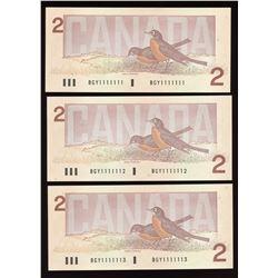 Bank of Canada $2, 1986 One Digit Radar Solid Number