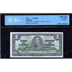 Bank of Canada $1, 1937 - 2 Digit Radar