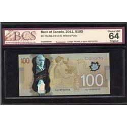 Bank of Canada $100, 2011 - 2 Digit Radar